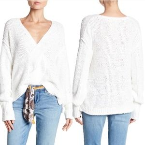 Free People Coco V-Neck White Knit Sweater w Twist